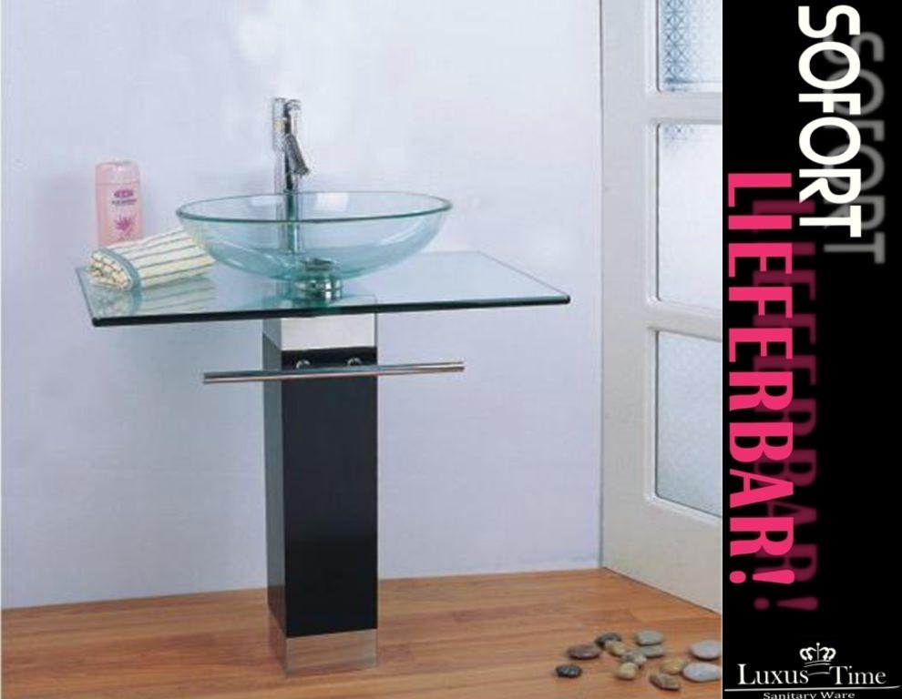 badm bel glaswaschtisch waschtisch waschbecken neu ovp lxw 763 ebay. Black Bedroom Furniture Sets. Home Design Ideas