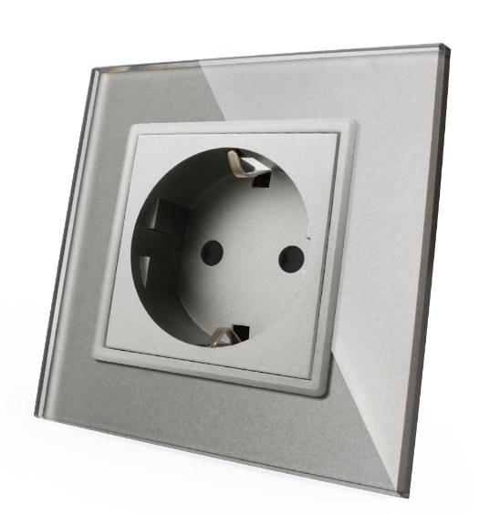 Livolo Smarthome Funk Lichtschalter Glas Touch Steckdosen Grau Luxus
