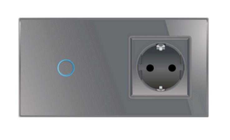 lichtschalter wandschalter glas touch an aus steckdose vlc701 c7c1eu 15 grau ebay. Black Bedroom Furniture Sets. Home Design Ideas