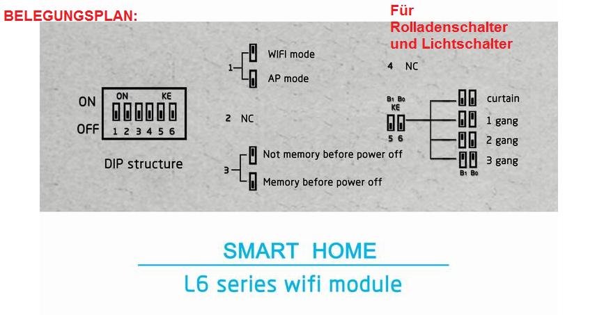 smart home wifi wlan adapter switch schalter funkschalter unterputz l6 modul 7426764051745 ebay. Black Bedroom Furniture Sets. Home Design Ideas