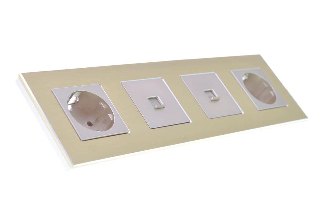 aluminium lichtschalter steckdose wechselschalter kreuz glas touchscreen gold ebay. Black Bedroom Furniture Sets. Home Design Ideas