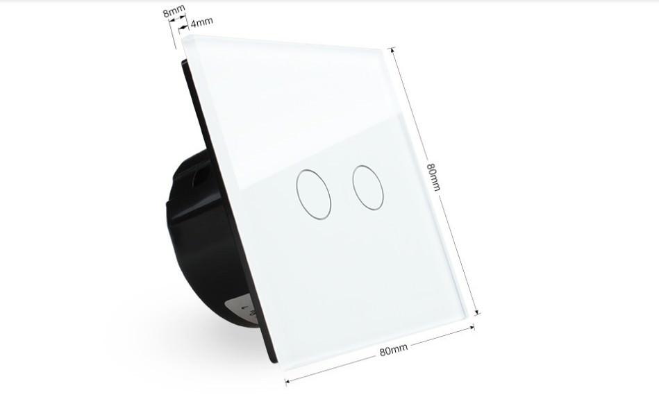 lichtschalter glas touchscreen wandschalter doppelschalter vl c702 11 neu ebay. Black Bedroom Furniture Sets. Home Design Ideas