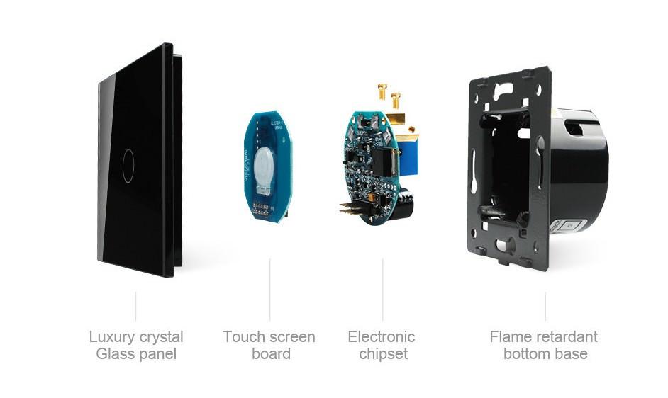 glas touchscreen funk lichtschalter wandschalter ein aus c701r 12 schwarz ebay. Black Bedroom Furniture Sets. Home Design Ideas