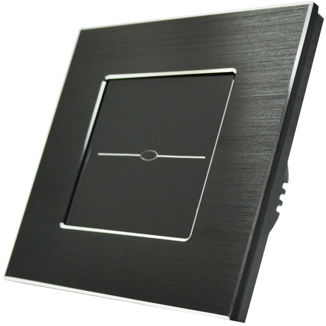 lichtschalter alurahmen glas touchscreen wandschalter ein aus schwarz schwarz ebay. Black Bedroom Furniture Sets. Home Design Ideas