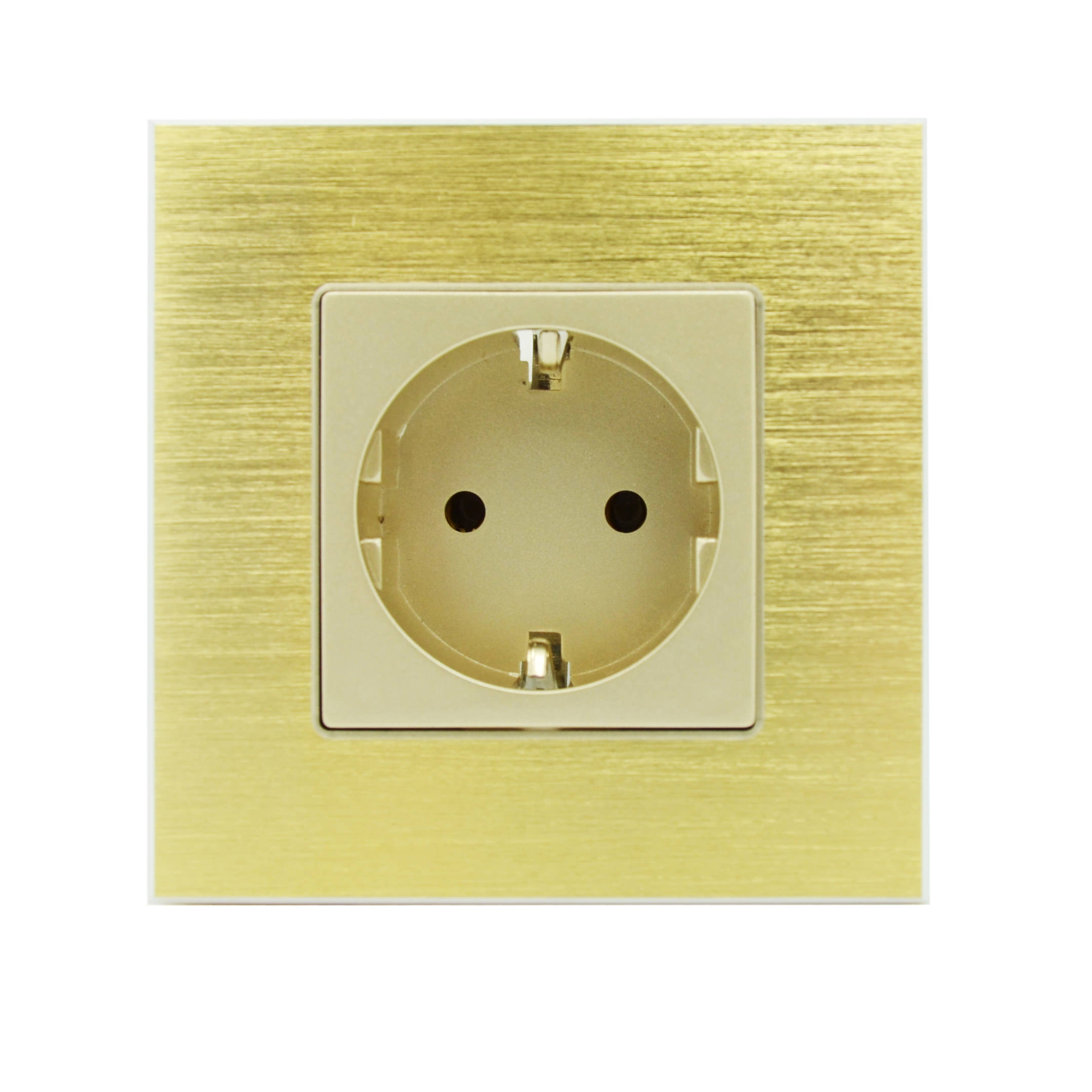 steckdose aluminium gold gold 1 fach neu ebay. Black Bedroom Furniture Sets. Home Design Ideas
