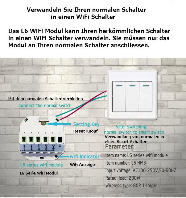 Smart Home WiFi WLAN Adapter Switch Schalter Funkschalter Unterputz ...